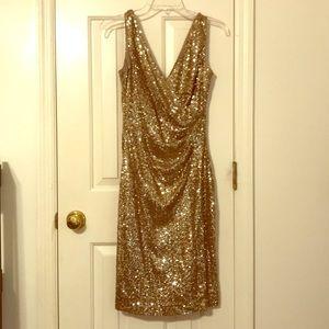 Gold Sequined Ralph Lauren Cocktail Dress